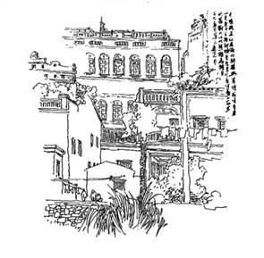 古代街道手绘简笔画